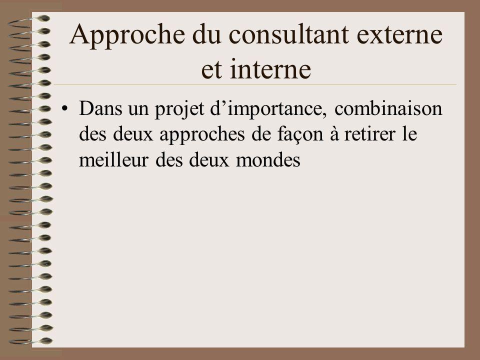 Approche du consultant externe et interne Dans un projet dimportance, combinaison des deux approches de façon à retirer le meilleur des deux mondes