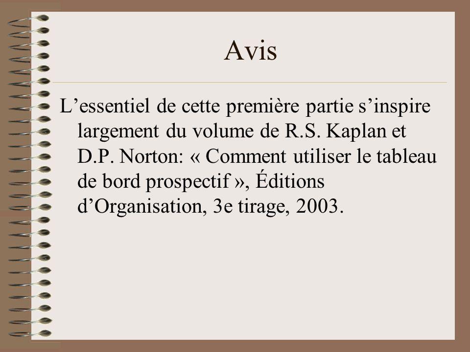 Avis Lessentiel de cette première partie sinspire largement du volume de R.S. Kaplan et D.P. Norton: « Comment utiliser le tableau de bord prospectif