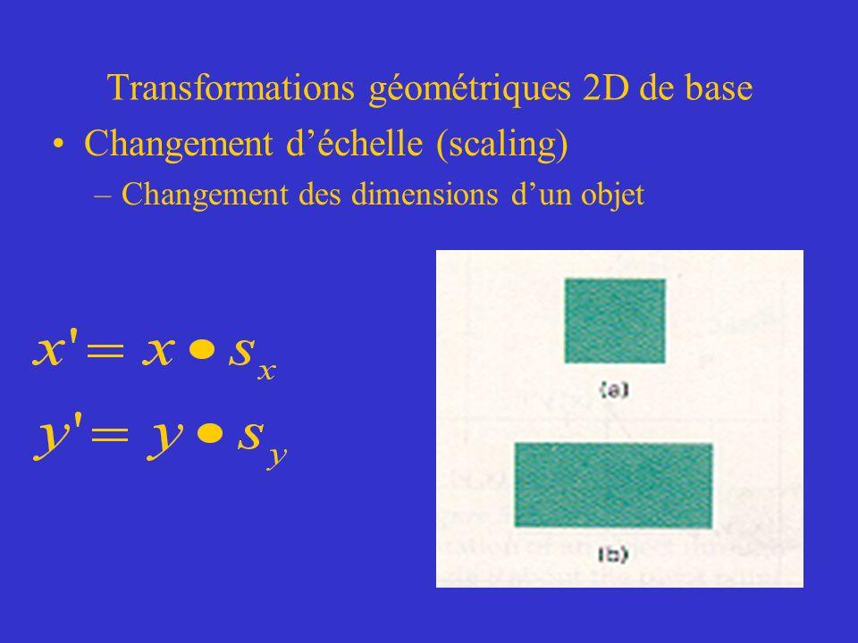 Transformations géométriques 2D de base Changement déchelle (scaling) –Changement des dimensions dun objet
