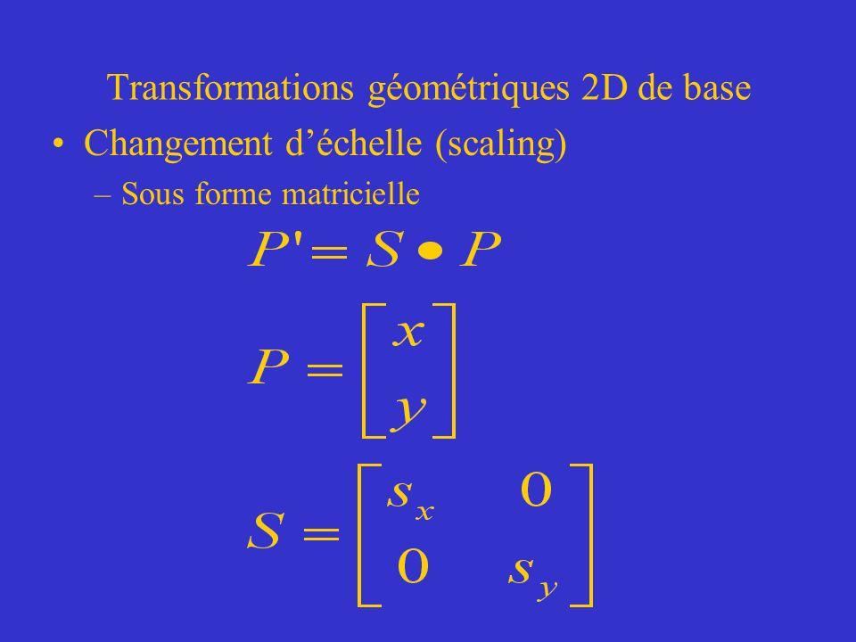 Transformations géométriques 2D de base Changement déchelle (scaling) –Sous forme matricielle