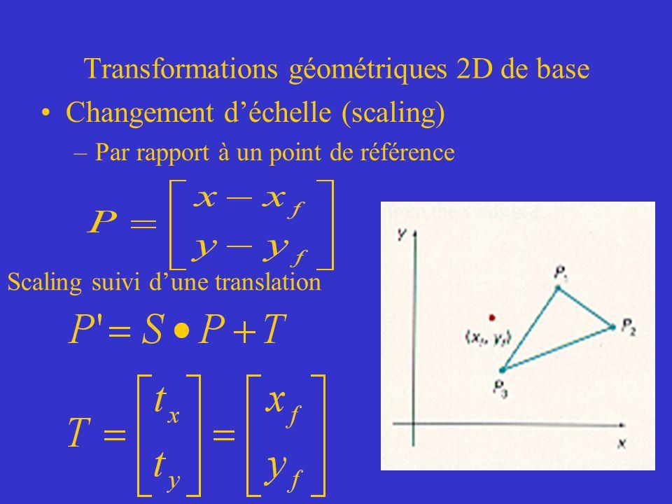 Transformations géométriques 2D de base Changement déchelle (scaling) –Par rapport à un point de référence Scaling suivi dune translation