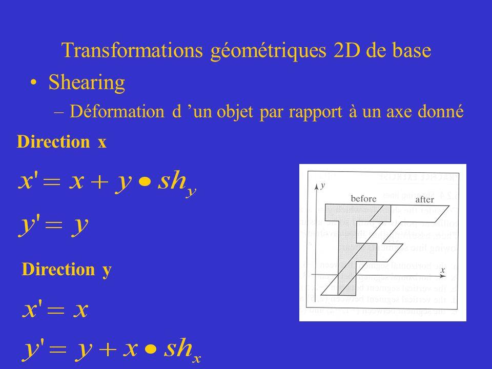 Transformations géométriques 2D de base Shearing –Déformation d un objet par rapport à un axe donné Direction x Direction y