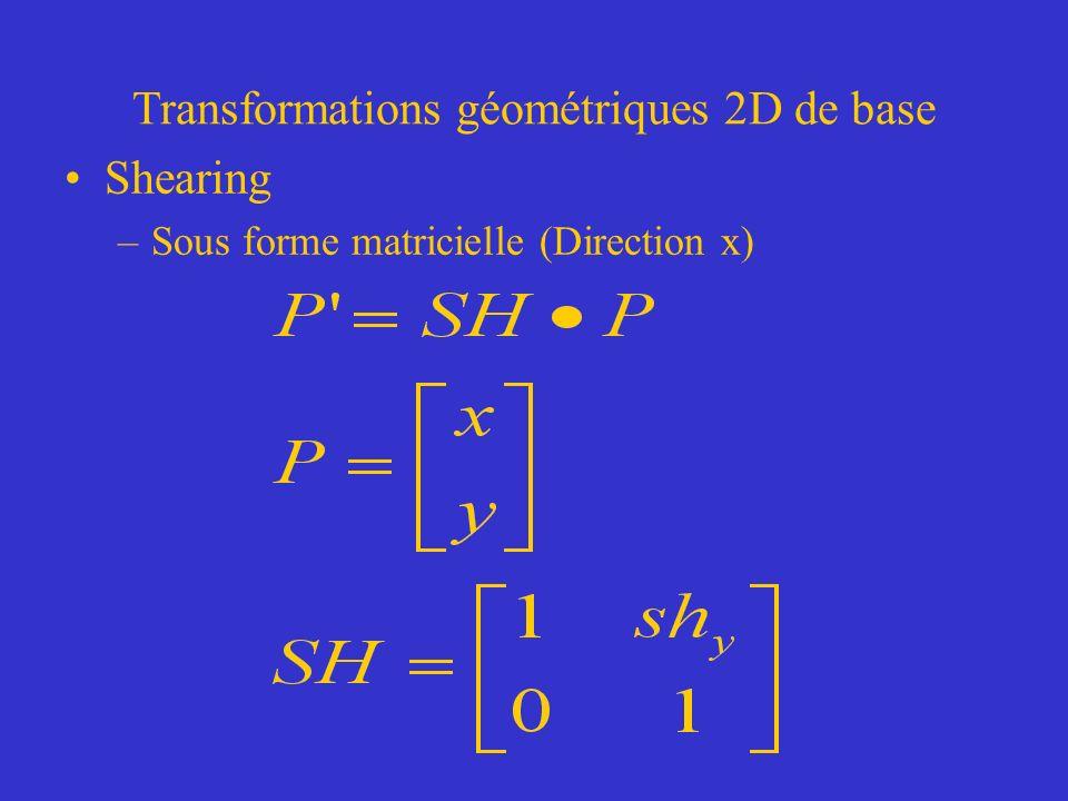 Transformations géométriques 2D de base Shearing –Sous forme matricielle (Direction x)