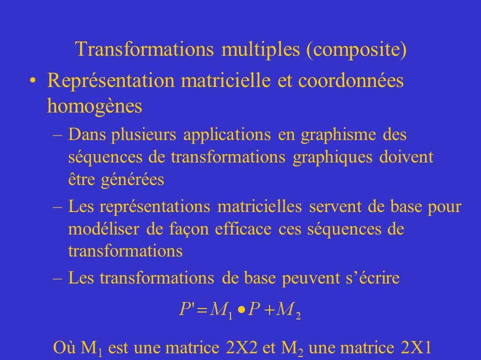 Transformations multiples (composite) Représentation matricielle et coordonnées homogènes –Dans plusieurs applications en graphisme des séquences de transformations graphiques doivent être générées –Les représentations matricielles servent de base pour modéliser de façon efficace ces séquences de transformations –Les transformations de base peuvent sécrire Où M 1 est une matrice 2X2 et M 2 une matrice 2X1