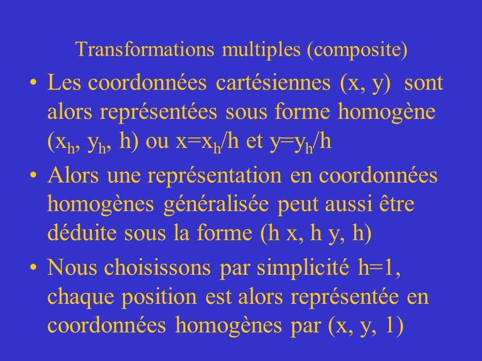 Transformations multiples (composite) Les coordonnées cartésiennes (x, y) sont alors représentées sous forme homogène (x h, y h, h) ou x=x h /h et y=y h /h Alors une représentation en coordonnées homogènes généralisée peut aussi être déduite sous la forme (h x, h y, h) Nous choisissons par simplicité h=1, chaque position est alors représentée en coordonnées homogènes par (x, y, 1)