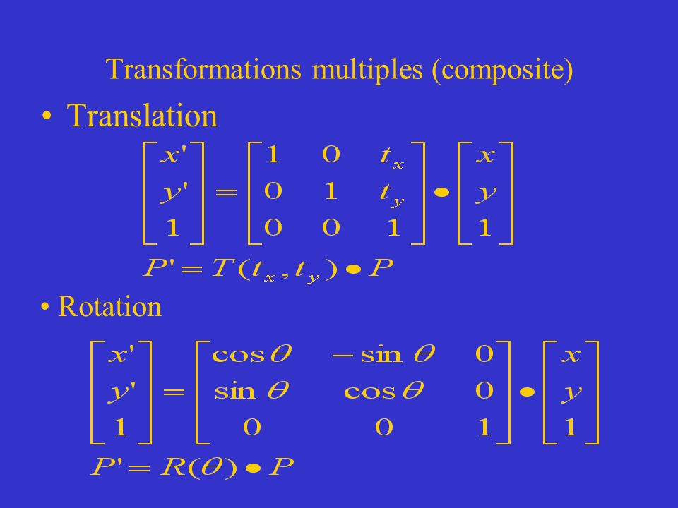 Transformations multiples (composite) Translation Rotation