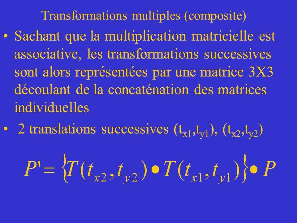 Transformations multiples (composite) Sachant que la multiplication matricielle est associative, les transformations successives sont alors représentées par une matrice 3X3 découlant de la concaténation des matrices individuelles 2 translations successives (t x1,t y1 ), (t x2,t y2 )