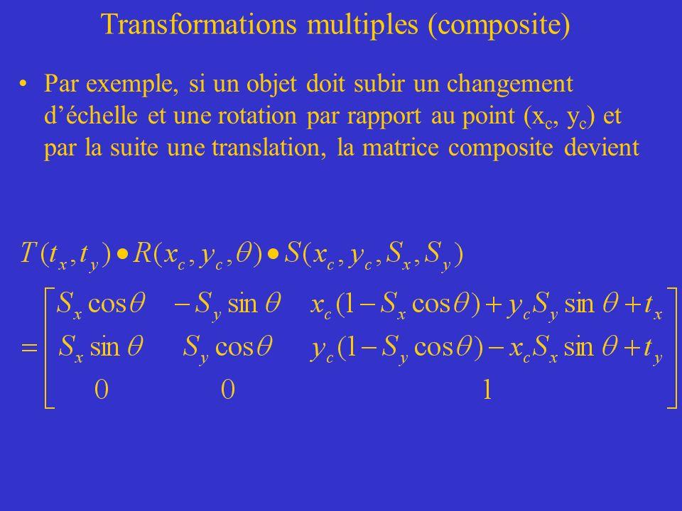 Transformations multiples (composite) Par exemple, si un objet doit subir un changement déchelle et une rotation par rapport au point (x c, y c ) et par la suite une translation, la matrice composite devient