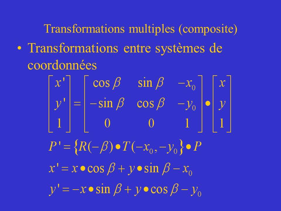 Transformations multiples (composite) Transformations entre systèmes de coordonnées