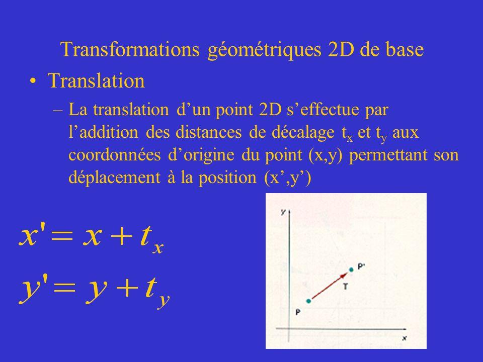 Transformations géométriques 2D de base Translation –La translation dun point 2D seffectue par laddition des distances de décalage t x et t y aux coordonnées dorigine du point (x,y) permettant son déplacement à la position (x,y)