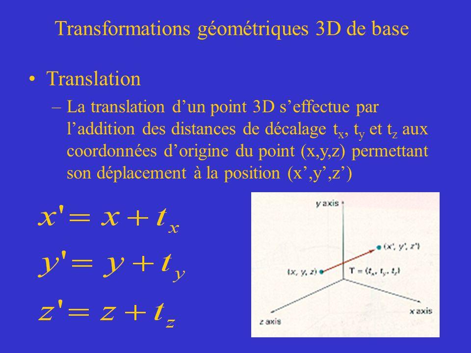 Transformations géométriques 3D de base Translation –La translation dun point 3D seffectue par laddition des distances de décalage t x, t y et t z aux coordonnées dorigine du point (x,y,z) permettant son déplacement à la position (x,y,z)