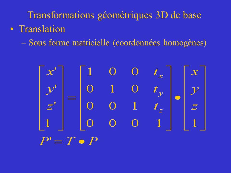 Transformations géométriques 3D de base Translation –Sous forme matricielle (coordonnées homogènes)