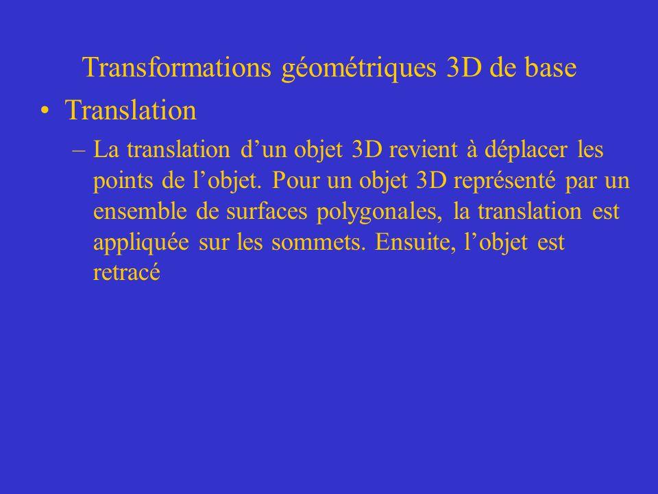 Transformations géométriques 3D de base Translation –La translation dun objet 3D revient à déplacer les points de lobjet. Pour un objet 3D représenté