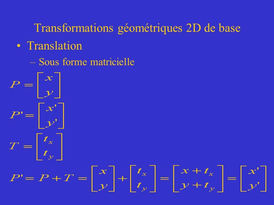 Transformations géométriques 2D de base Translation –Sous forme matricielle