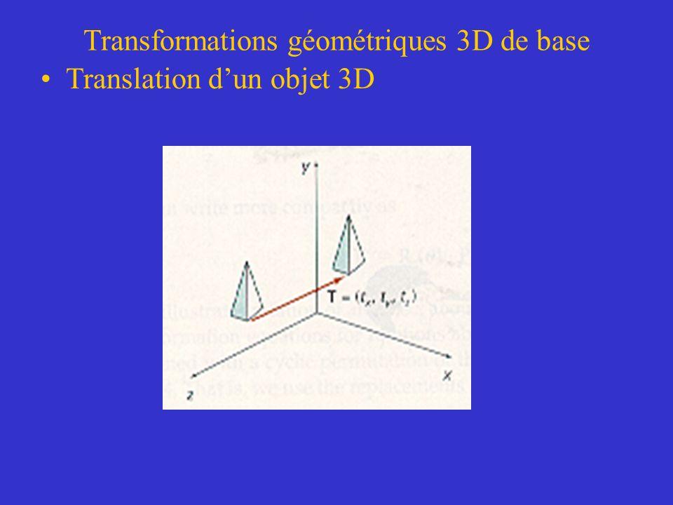 Transformations géométriques 3D de base Translation dun objet 3D