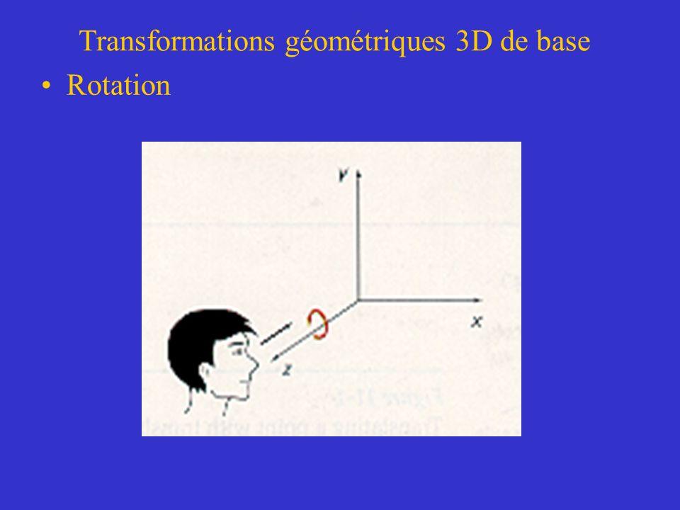 Transformations géométriques 3D de base Rotation