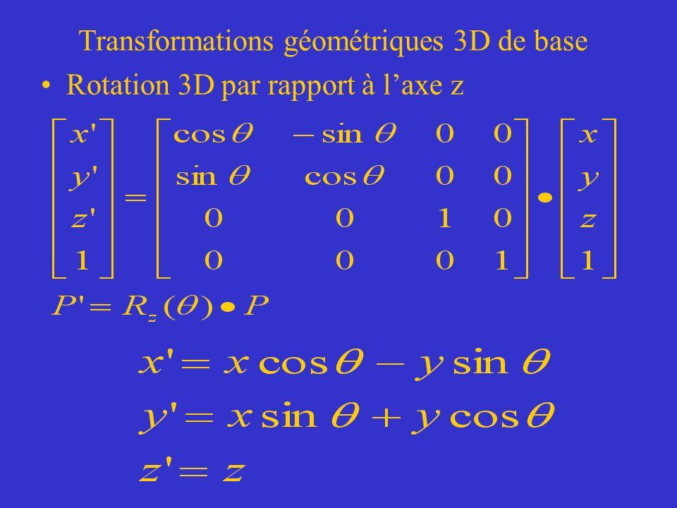 Transformations géométriques 3D de base Rotation 3D par rapport à laxe z