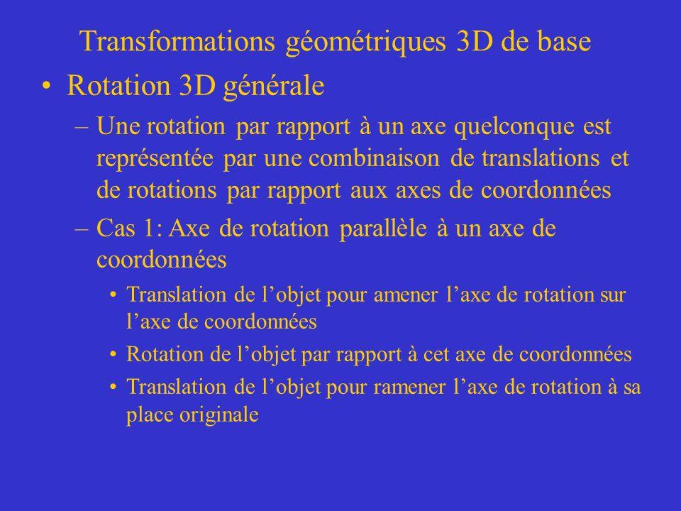 Transformations géométriques 3D de base Rotation 3D générale –Une rotation par rapport à un axe quelconque est représentée par une combinaison de translations et de rotations par rapport aux axes de coordonnées –Cas 1: Axe de rotation parallèle à un axe de coordonnées Translation de lobjet pour amener laxe de rotation sur laxe de coordonnées Rotation de lobjet par rapport à cet axe de coordonnées Translation de lobjet pour ramener laxe de rotation à sa place originale