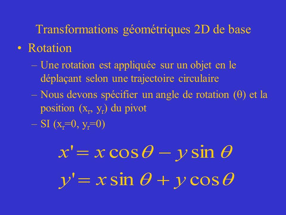 Transformations géométriques 2D de base Rotation –Une rotation est appliquée sur un objet en le déplaçant selon une trajectoire circulaire –Nous devons spécifier un angle de rotation ( ) et la position (x r, y r ) du pivot –SI (x r =0, y r =0)