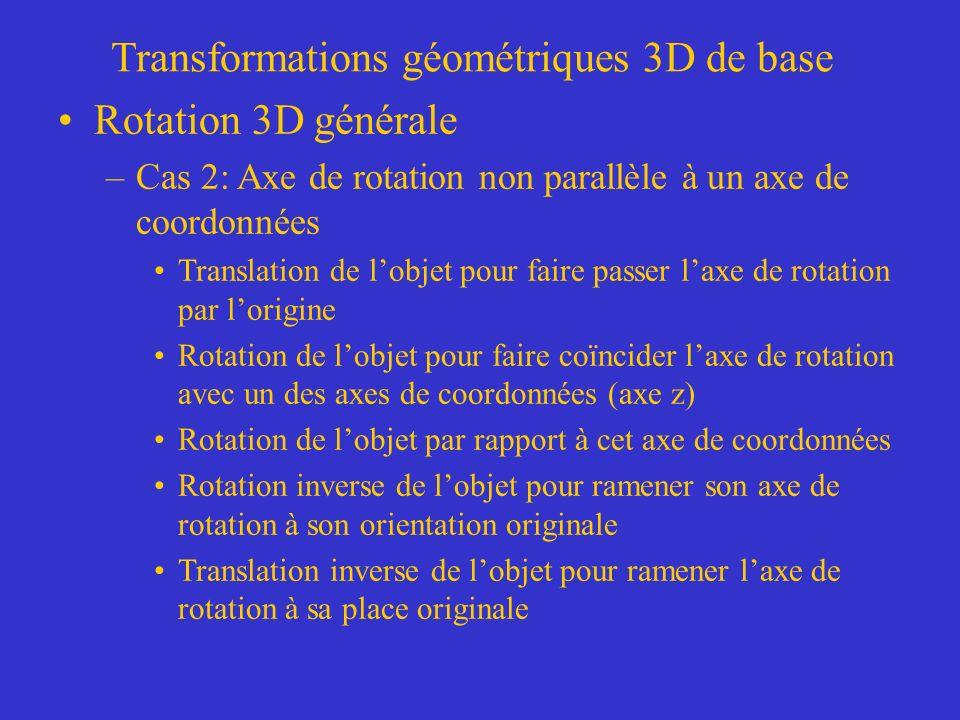 Transformations géométriques 3D de base Rotation 3D générale –Cas 2: Axe de rotation non parallèle à un axe de coordonnées Translation de lobjet pour faire passer laxe de rotation par lorigine Rotation de lobjet pour faire coïncider laxe de rotation avec un des axes de coordonnées (axe z) Rotation de lobjet par rapport à cet axe de coordonnées Rotation inverse de lobjet pour ramener son axe de rotation à son orientation originale Translation inverse de lobjet pour ramener laxe de rotation à sa place originale