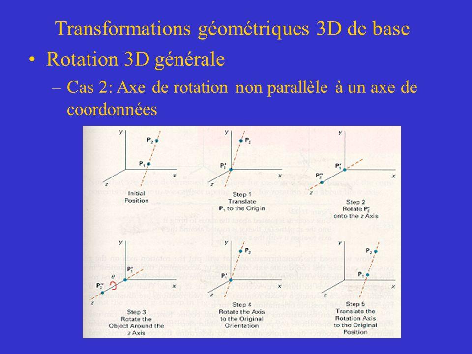 Transformations géométriques 3D de base Rotation 3D générale –Cas 2: Axe de rotation non parallèle à un axe de coordonnées