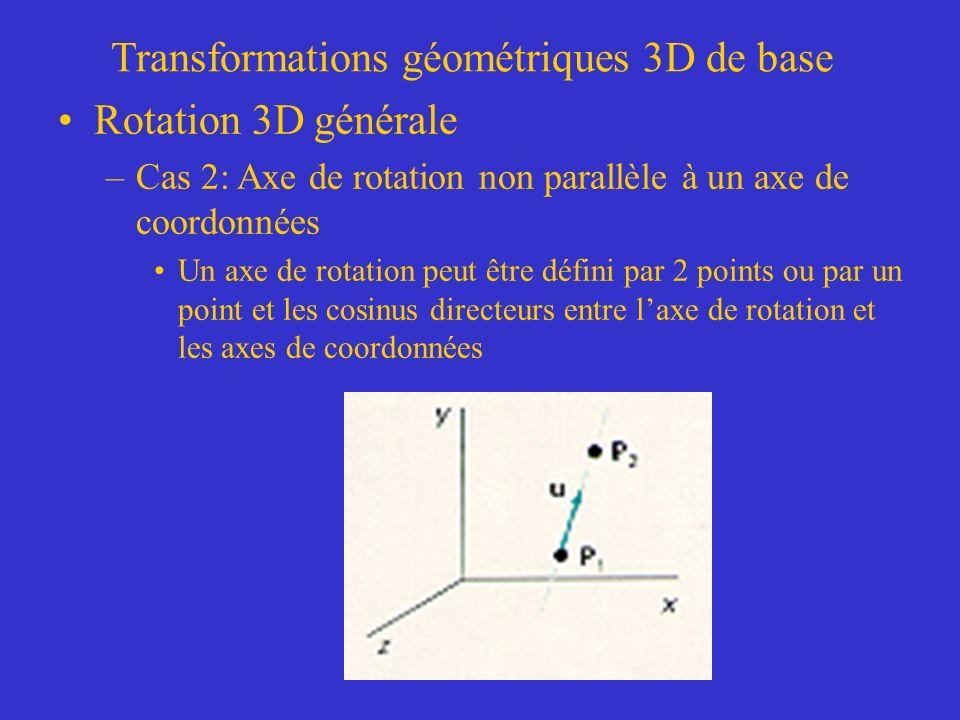 Transformations géométriques 3D de base Rotation 3D générale –Cas 2: Axe de rotation non parallèle à un axe de coordonnées Un axe de rotation peut être défini par 2 points ou par un point et les cosinus directeurs entre laxe de rotation et les axes de coordonnées