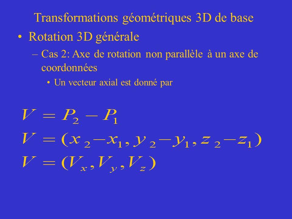 Transformations géométriques 3D de base Rotation 3D générale –Cas 2: Axe de rotation non parallèle à un axe de coordonnées Un vecteur axial est donné par