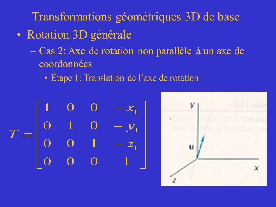 Transformations géométriques 3D de base Rotation 3D générale –Cas 2: Axe de rotation non parallèle à un axe de coordonnées Étape 1: Translation de laxe de rotation