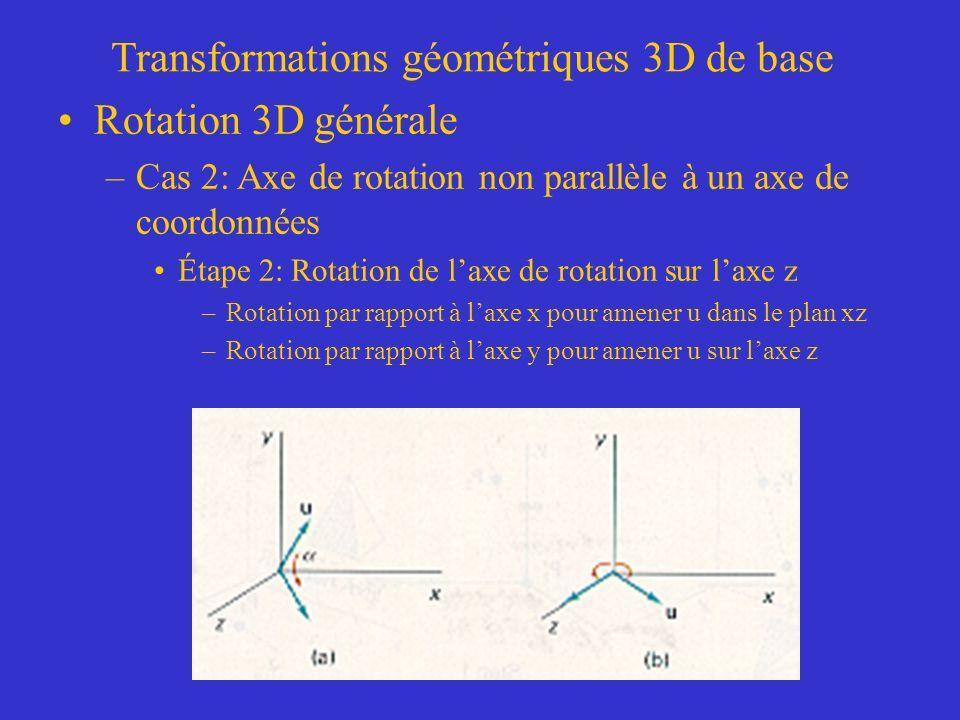 Transformations géométriques 3D de base Rotation 3D générale –Cas 2: Axe de rotation non parallèle à un axe de coordonnées Étape 2: Rotation de laxe de rotation sur laxe z –Rotation par rapport à laxe x pour amener u dans le plan xz –Rotation par rapport à laxe y pour amener u sur laxe z