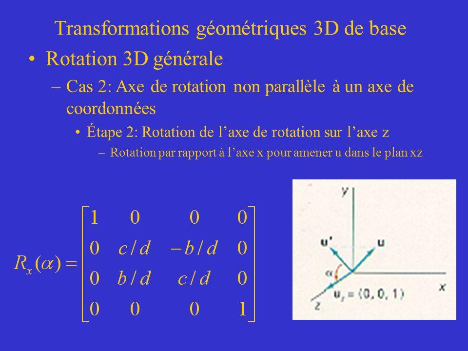 Transformations géométriques 3D de base Rotation 3D générale –Cas 2: Axe de rotation non parallèle à un axe de coordonnées Étape 2: Rotation de laxe de rotation sur laxe z –Rotation par rapport à laxe x pour amener u dans le plan xz