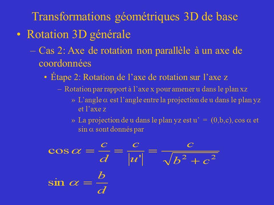 Transformations géométriques 3D de base Rotation 3D générale –Cas 2: Axe de rotation non parallèle à un axe de coordonnées Étape 2: Rotation de laxe de rotation sur laxe z –Rotation par rapport à laxe x pour amener u dans le plan xz »Langle est langle entre la projection de u dans le plan yz et laxe z »La projection de u dans le plan yz est u = (0,b,c), cos et sin sont donnés par