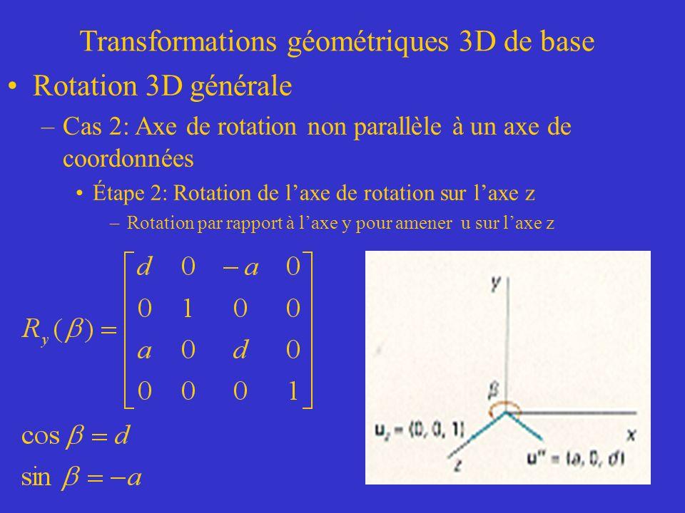 Transformations géométriques 3D de base Rotation 3D générale –Cas 2: Axe de rotation non parallèle à un axe de coordonnées Étape 2: Rotation de laxe de rotation sur laxe z –Rotation par rapport à laxe y pour amener u sur laxe z