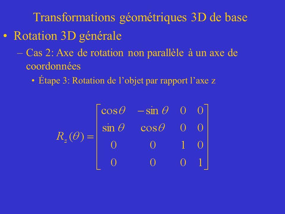 Transformations géométriques 3D de base Rotation 3D générale –Cas 2: Axe de rotation non parallèle à un axe de coordonnées Étape 3: Rotation de lobjet