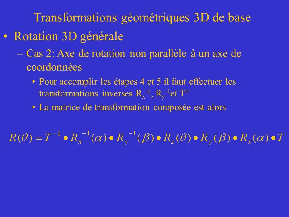 Transformations géométriques 3D de base Rotation 3D générale –Cas 2: Axe de rotation non parallèle à un axe de coordonnées Pour accomplir les étapes 4 et 5 il faut effectuer les transformations inverses R x -1, R y -1 et T -1 La matrice de transformation composée est alors