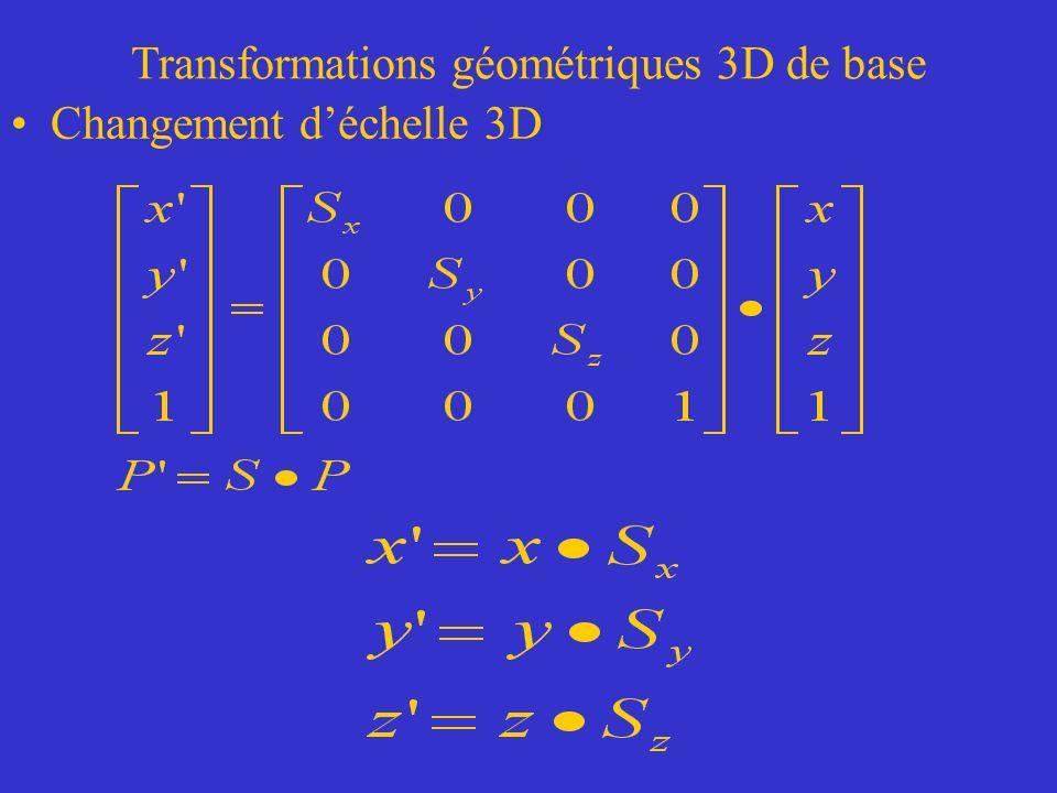 Transformations géométriques 3D de base Changement déchelle 3D