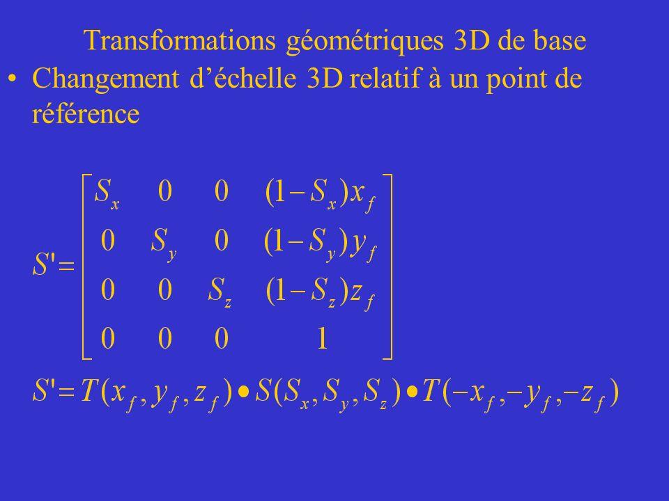 Transformations géométriques 3D de base Changement déchelle 3D relatif à un point de référence