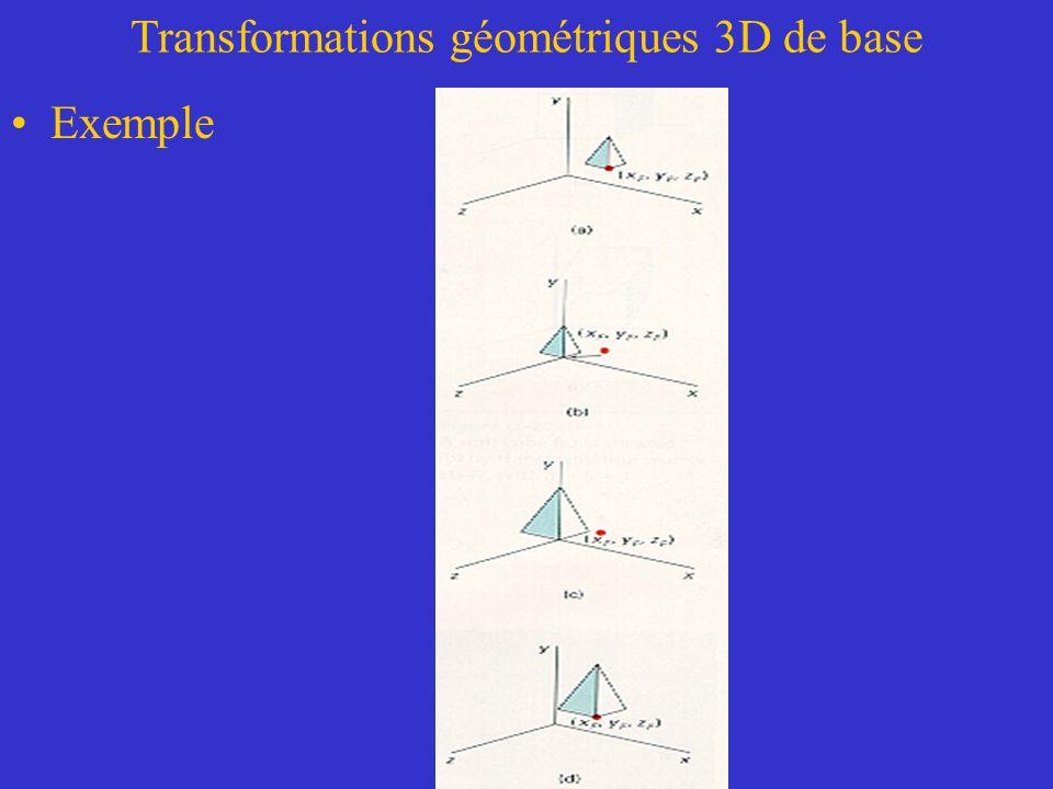 Transformations géométriques 3D de base Exemple