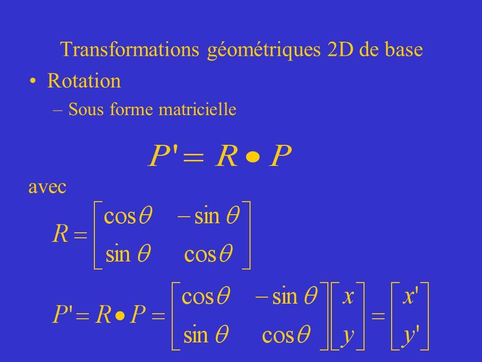 Transformations géométriques 2D de base Rotation –Sous forme matricielle avec