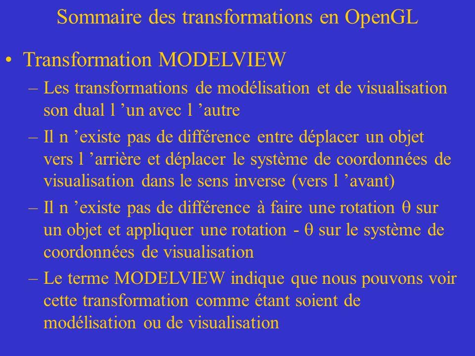 Sommaire des transformations en OpenGL Transformation MODELVIEW –Les transformations de modélisation et de visualisation son dual l un avec l autre –Il n existe pas de différence entre déplacer un objet vers l arrière et déplacer le système de coordonnées de visualisation dans le sens inverse (vers l avant) –Il n existe pas de différence à faire une rotation sur un objet et appliquer une rotation - sur le système de coordonnées de visualisation –Le terme MODELVIEW indique que nous pouvons voir cette transformation comme étant soient de modélisation ou de visualisation