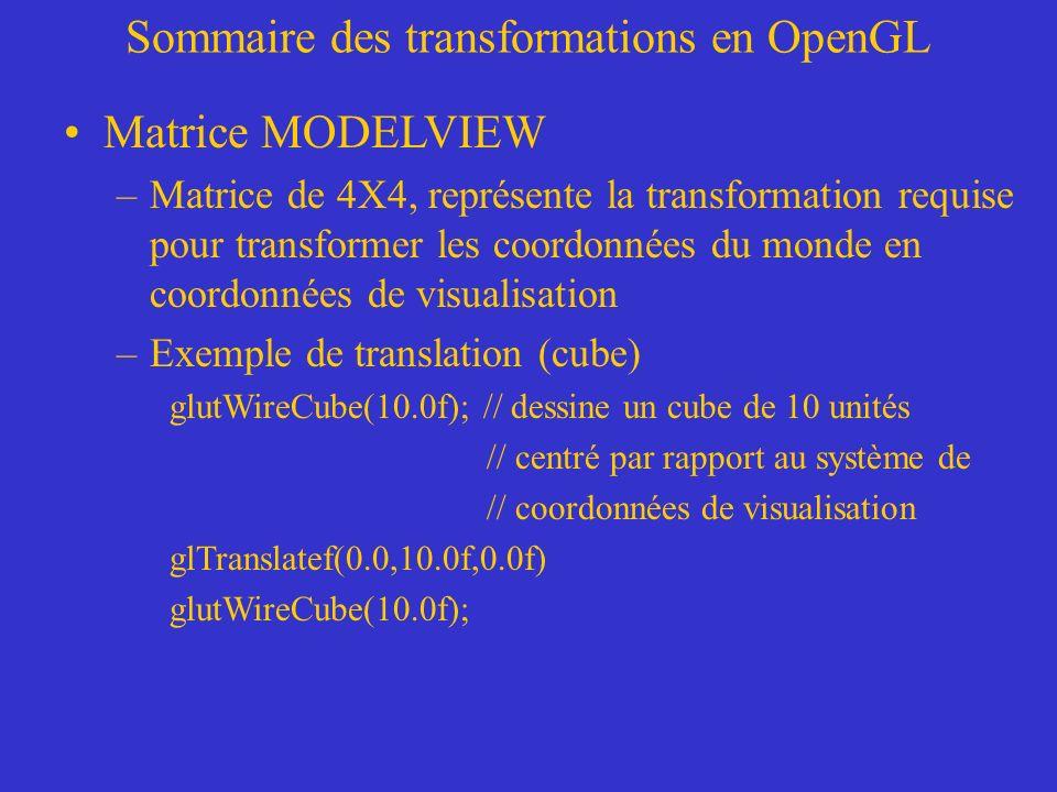 Sommaire des transformations en OpenGL Matrice MODELVIEW –Matrice de 4X4, représente la transformation requise pour transformer les coordonnées du monde en coordonnées de visualisation –Exemple de translation (cube) glutWireCube(10.0f); // dessine un cube de 10 unités // centré par rapport au système de // coordonnées de visualisation glTranslatef(0.0,10.0f,0.0f) glutWireCube(10.0f);