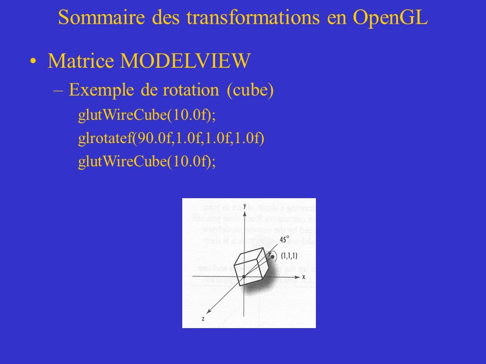 Sommaire des transformations en OpenGL Matrice MODELVIEW –Exemple de rotation (cube) glutWireCube(10.0f); glrotatef(90.0f,1.0f,1.0f,1.0f) glutWireCube