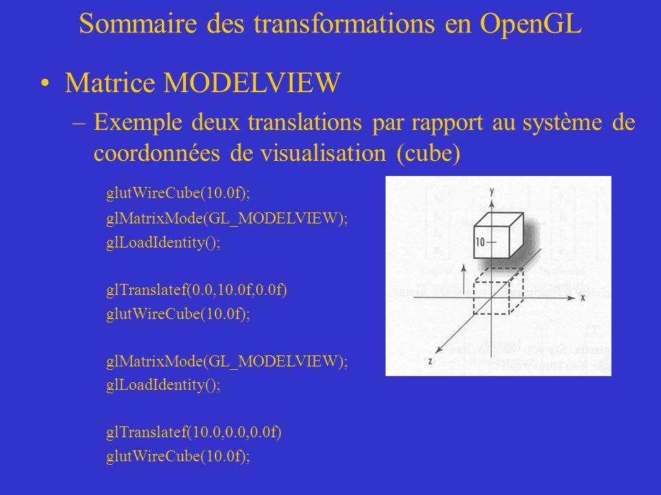 Sommaire des transformations en OpenGL Matrice MODELVIEW –Exemple deux translations par rapport au système de coordonnées de visualisation (cube) glutWireCube(10.0f); glMatrixMode(GL_MODELVIEW); glLoadIdentity(); glTranslatef(0.0,10.0f,0.0f) glutWireCube(10.0f); glMatrixMode(GL_MODELVIEW); glLoadIdentity(); glTranslatef(10.0,0.0,0.0f) glutWireCube(10.0f);