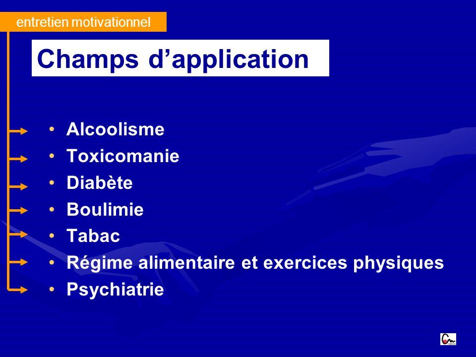 entretien motivationnel Alcoolisme Toxicomanie Diabète Boulimie Tabac Régime alimentaire et exercices physiques Psychiatrie Champs dapplication