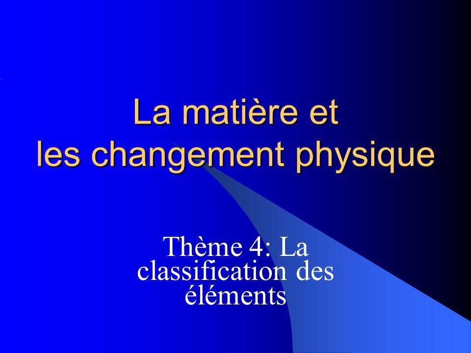 La matière et les changement physique Thème 4: La classification des éléments