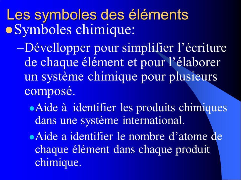 Les symboles des éléments Symboles chimique: –Dévellopper pour simplifier lécriture de chaque élément et pour lélaborer un système chimique pour plusieurs composé.
