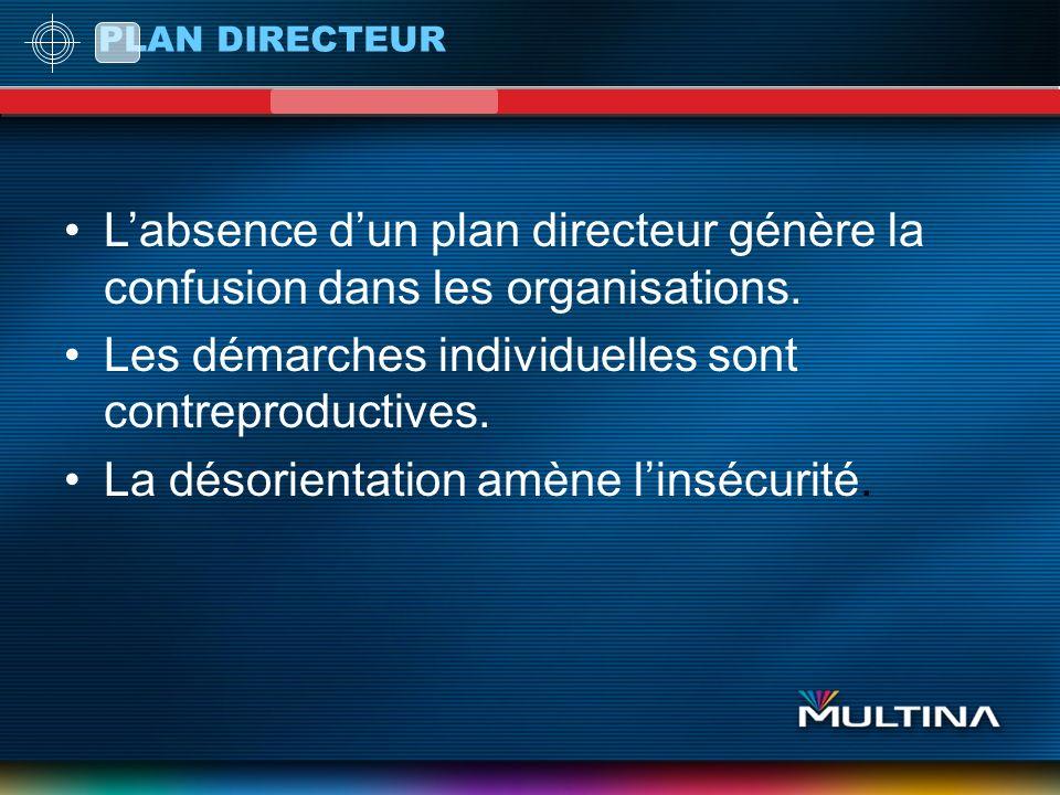 PLAN DIRECTEUR Labsence dun plan directeur génère la confusion dans les organisations. Les démarches individuelles sont contreproductives. La désorien