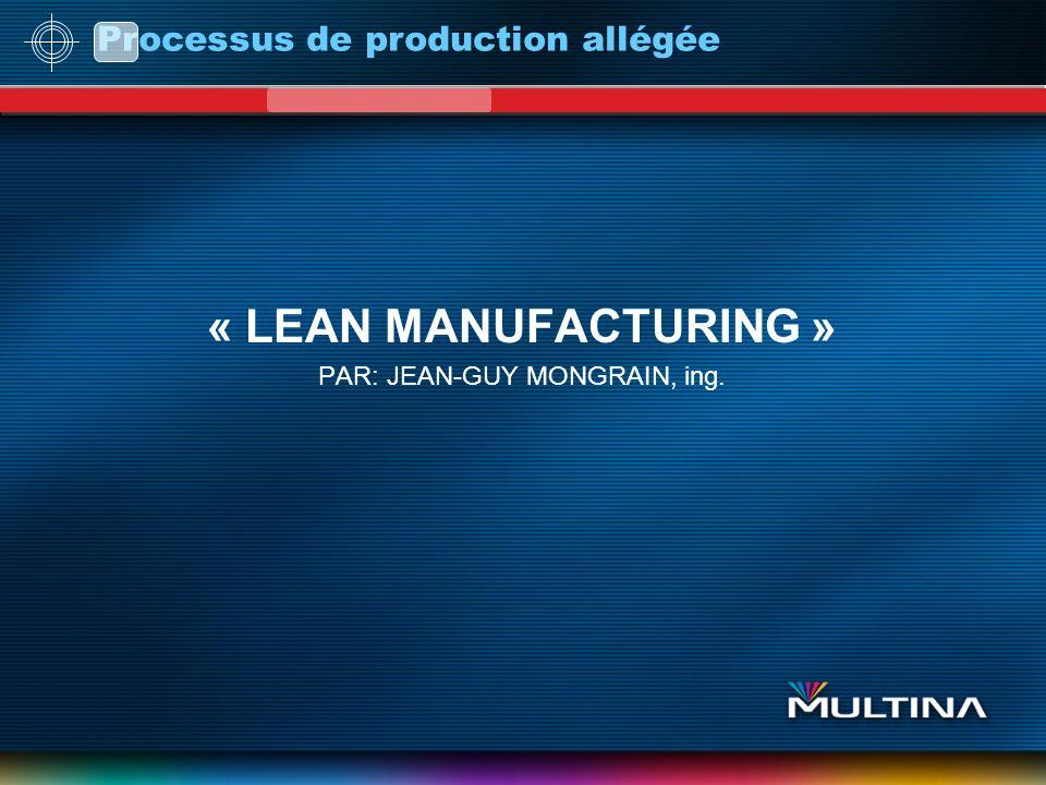 Processus de production allégée « LEAN MANUFACTURING » PAR: JEAN-GUY MONGRAIN, ing.