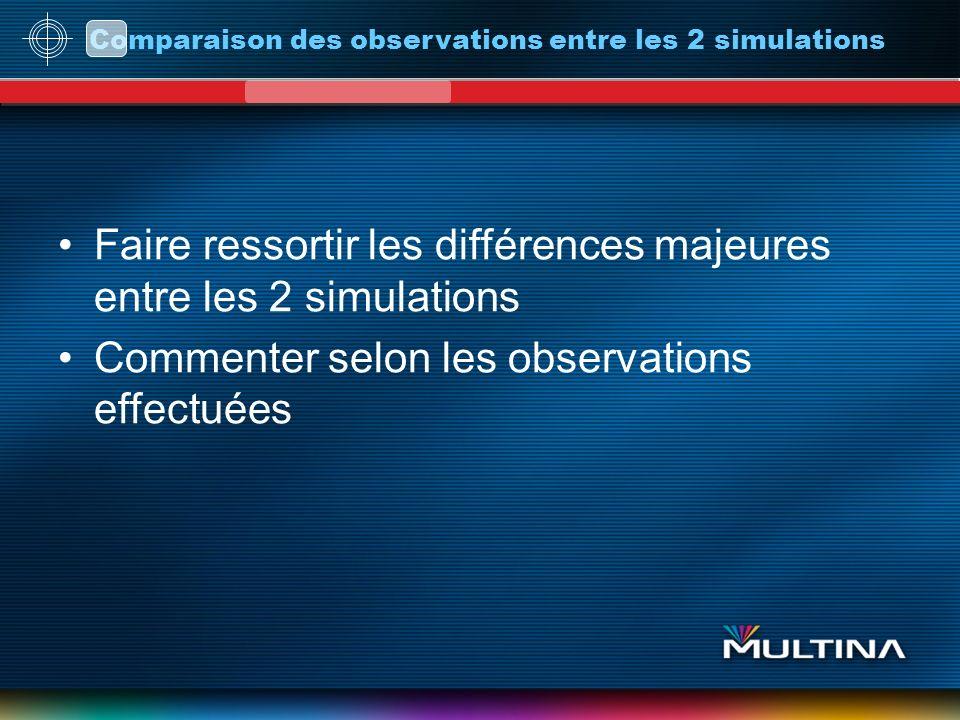 Comparaison des observations entre les 2 simulations Faire ressortir les différences majeures entre les 2 simulations Commenter selon les observations effectuées