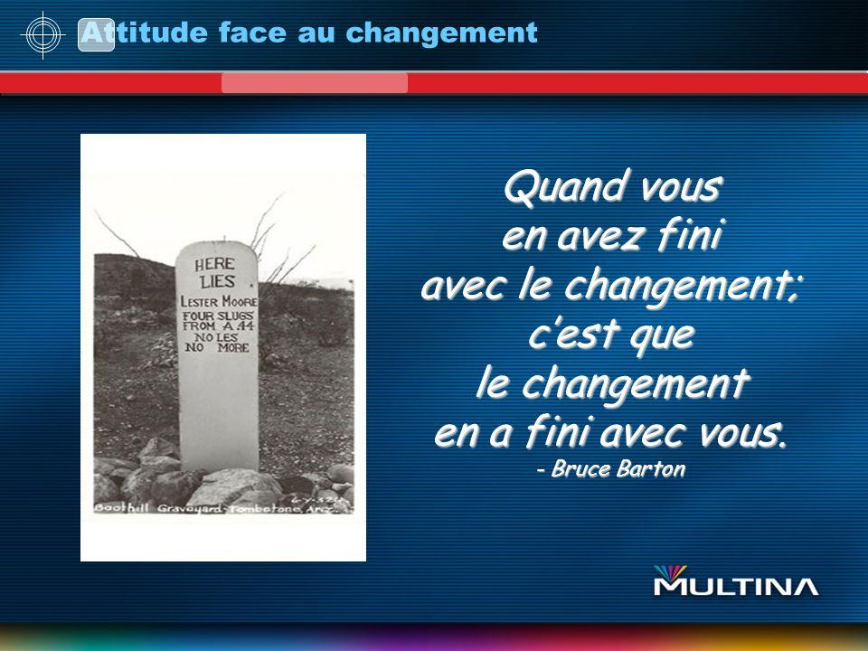 Attitude face au changement Quand vous en avez fini avec le changement; cest que le changement en a fini avec vous. - Bruce Barton