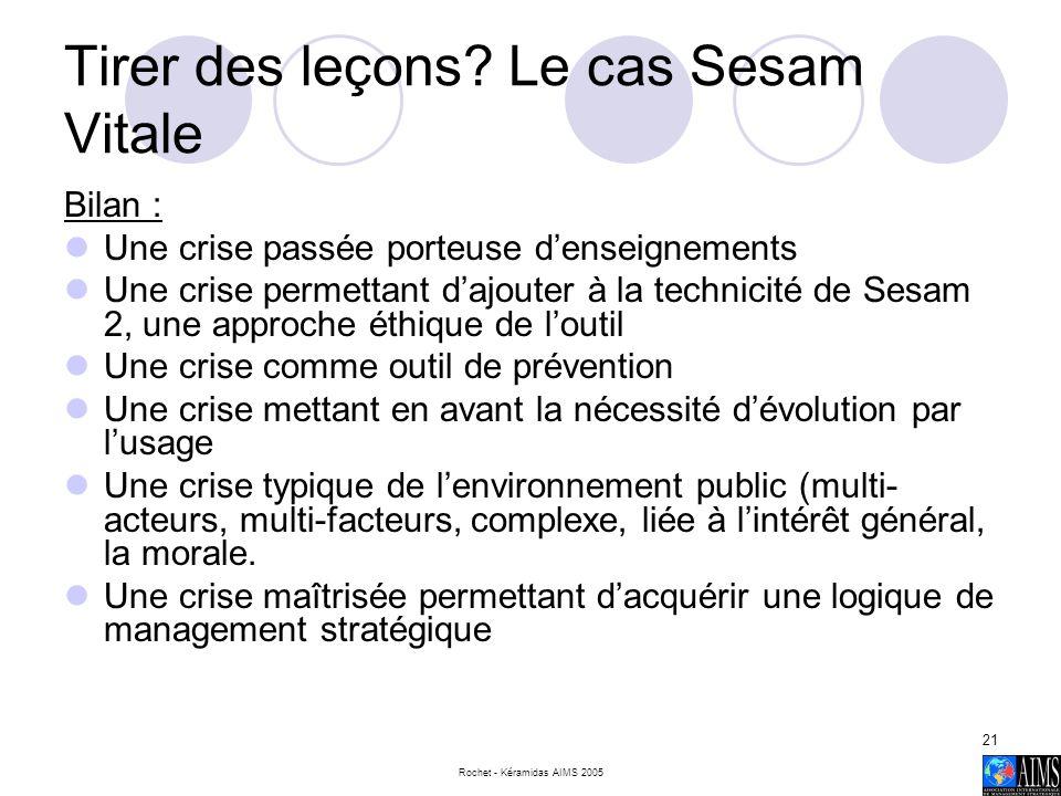 Rochet - Kéramidas AIMS 2005 21 Tirer des leçons? Le cas Sesam Vitale Bilan : Une crise passée porteuse denseignements Une crise permettant dajouter à